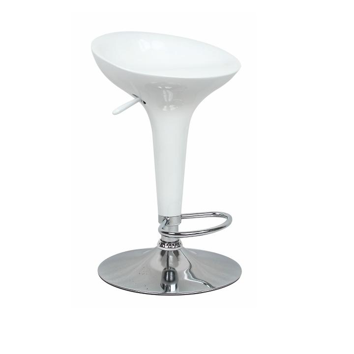 Barová stolička, biely plast/chróm, INGE 2 NEW