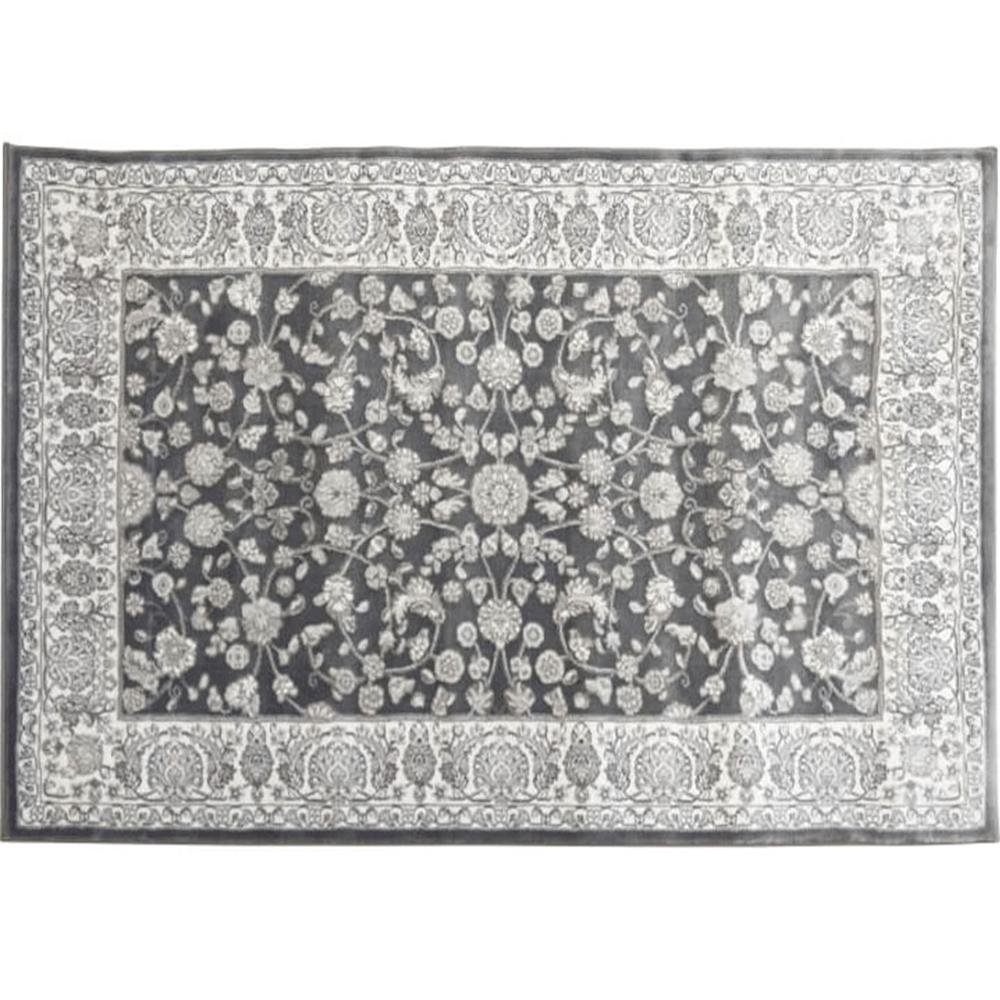 Koberec, tmavě šedá / vzor, 100x150, AZIR