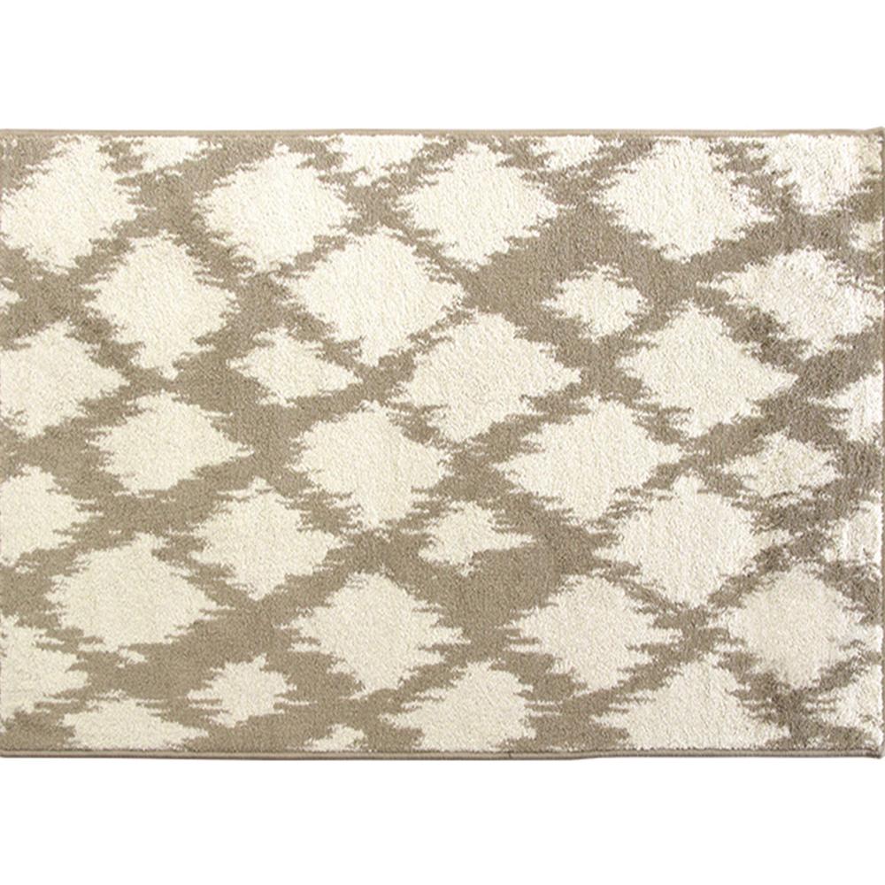 Koberec, krémově / bílá, 67x120, LIBAR