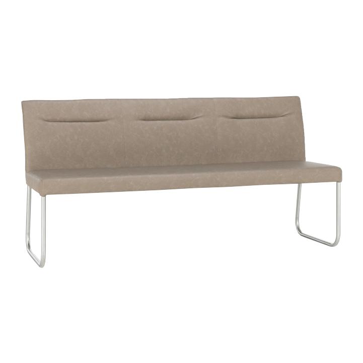 Dizajnová lavica, sivohnedá ekokoža s efektom brúsenej kože, INDRA typ 1