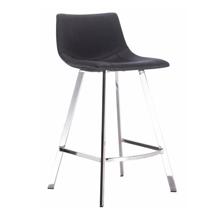 Barová stolička, čierna látka s efektom brúsenej kože, DERON