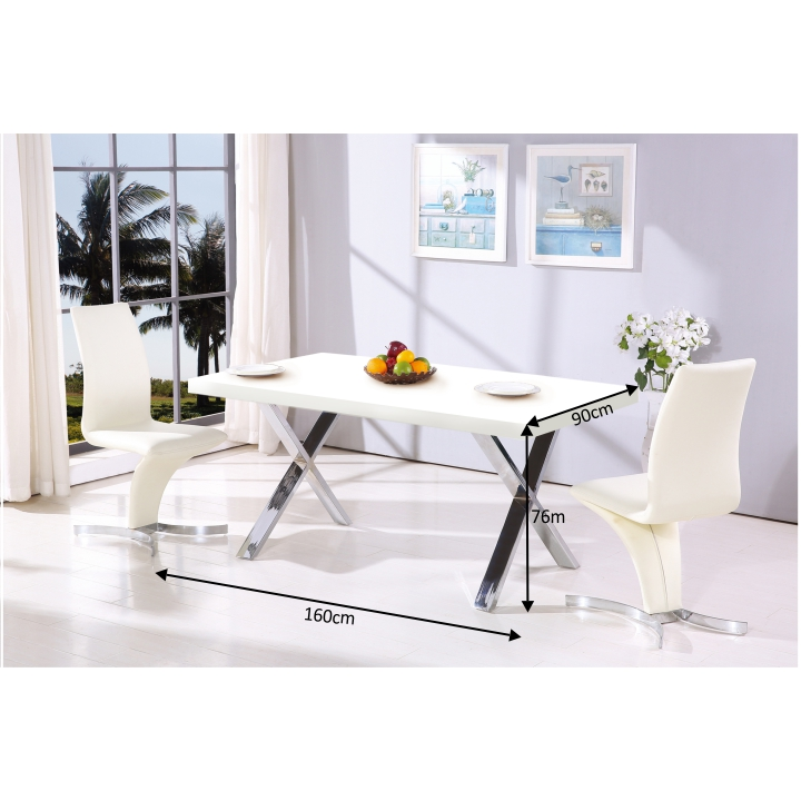 TEMPO KONDELA Jedálenský stôl, biela vysoký lesk HG/chróm, ANSEL - Tempo nábytek