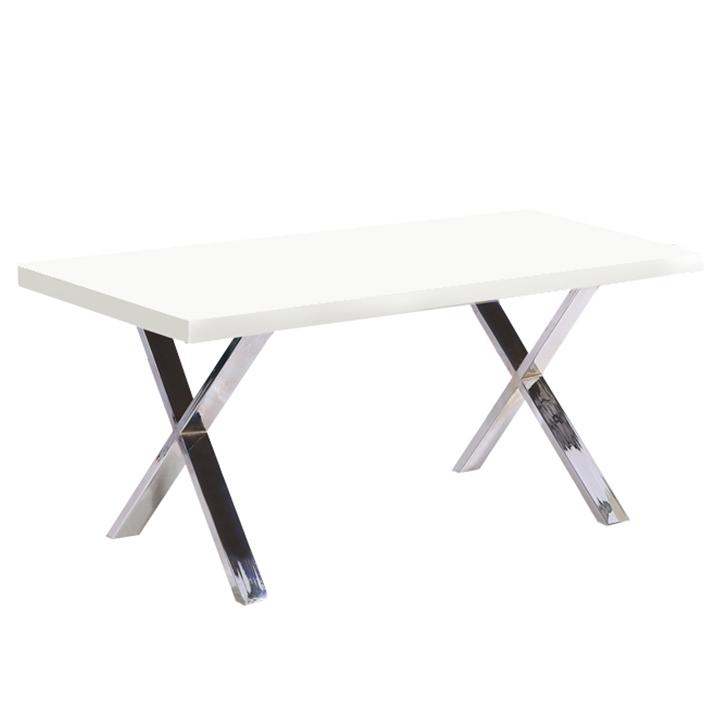 Jedálenský stôl, biela vysoký lesk HG/chróm, ANSEL