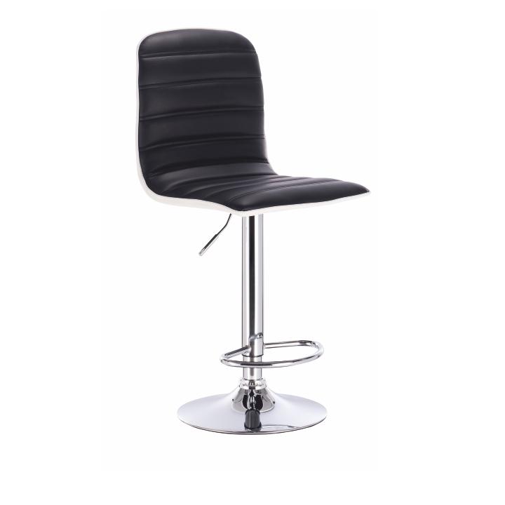 Barová stolička, čierna/biela/chrómovaná, GERIK