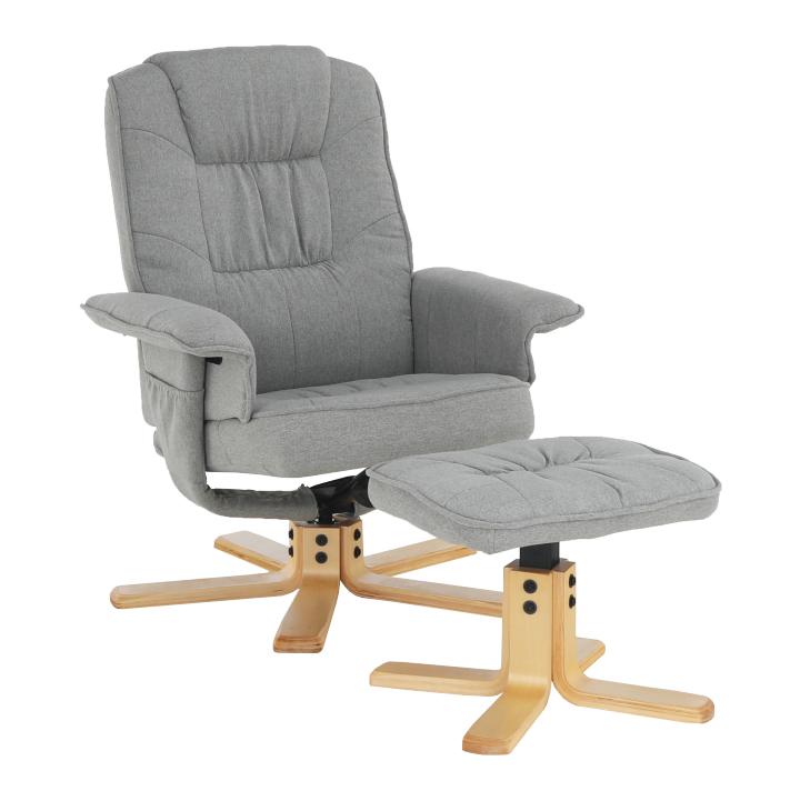 Relaxačné kreslo s podnožou, sivá, LERATO