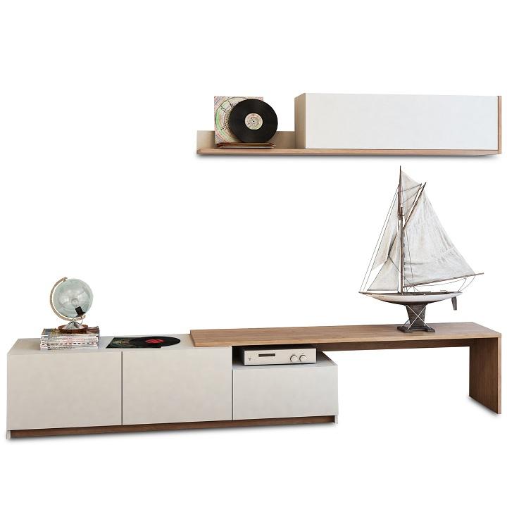 TEMPO KONDELA Obývacia stena, dub wotan/biela, CUBE - Tempo nábytek