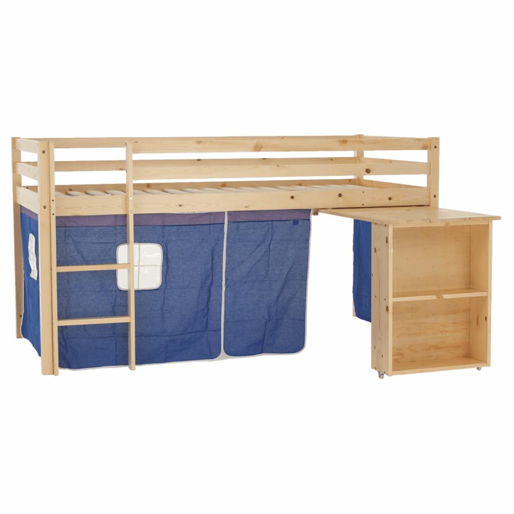 Postel s PC stolem, borovicové dřevo / modrá, 90x200 cm, ALZENA