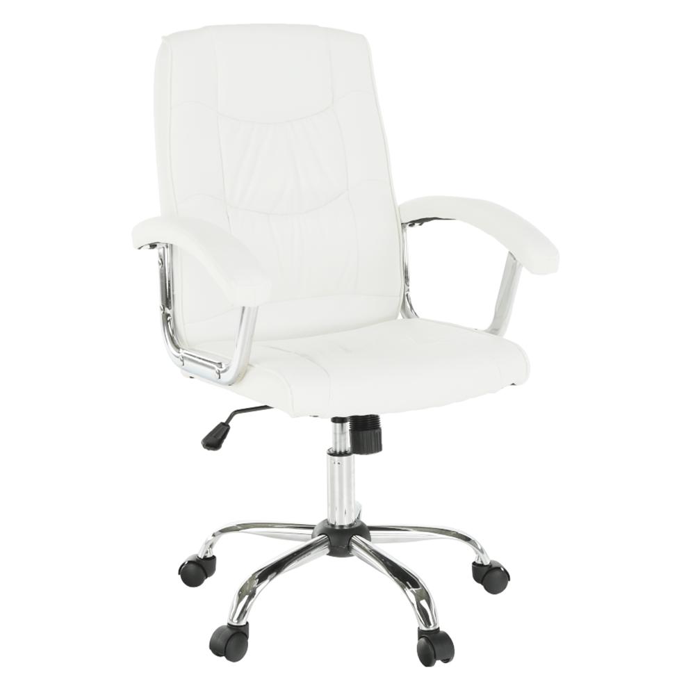 Kancelárske kreslo, biela ekokoža, LIONEL 1658LC