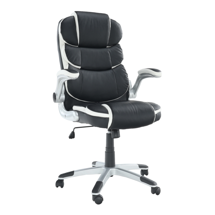 Kancelárske kreslo, ekokoža, biela/čierna, SARAKA