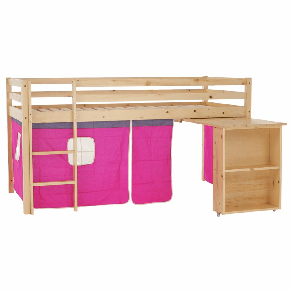 Posteľ s PC stolom, borovicové drevo/ružová, 90x200, ALZENA