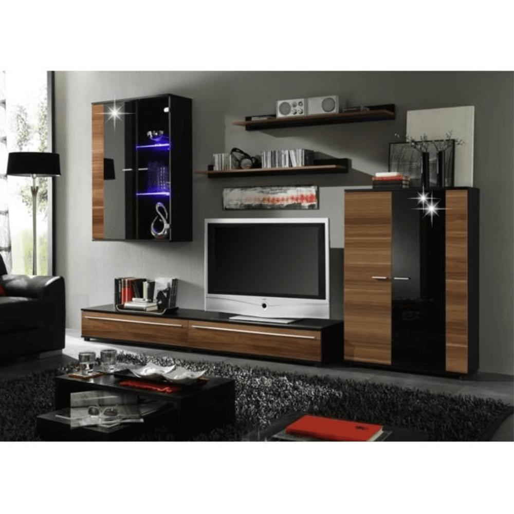 Obývacia stena, s LED osvetlením, slivka/čierna extra vysoký lesk HG, CANES NEW, rozbalený tovar