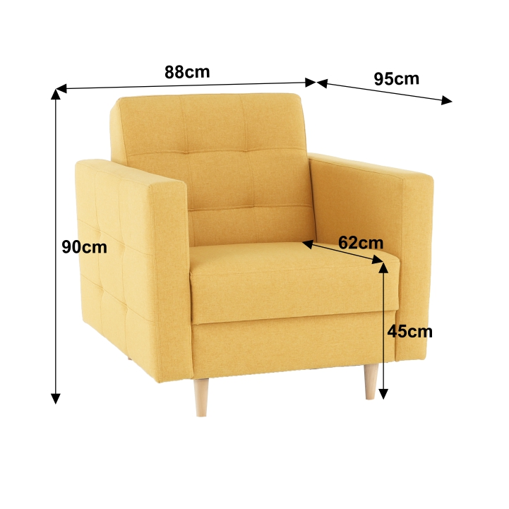 Teljesen kárpitozott fotel, mustár színű anyag, AMEDIA