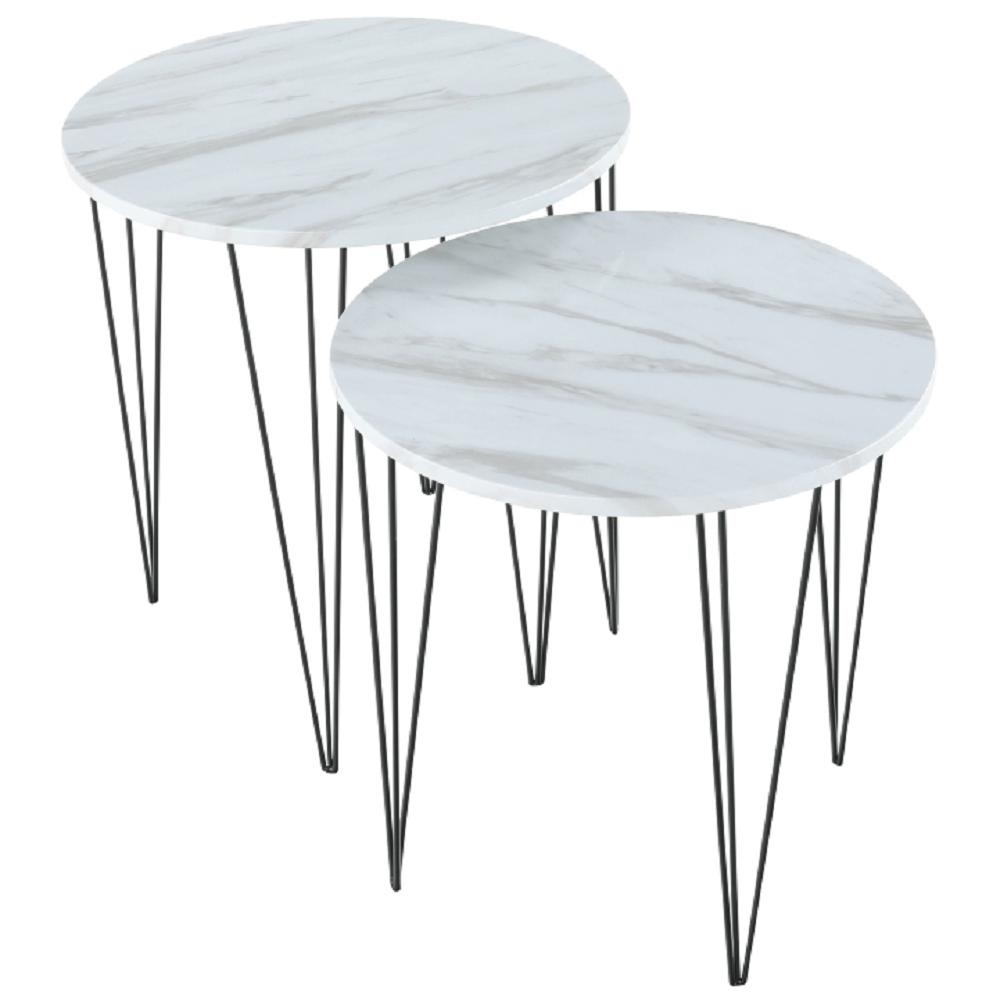 Set 2 konferenčních stolků, vzor bílý mramor / černý kov, PAROS