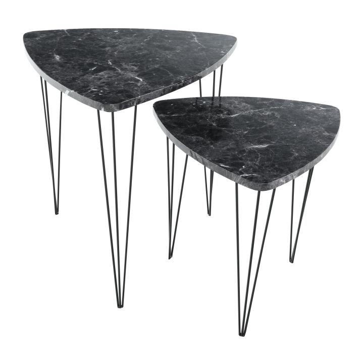 Set 2 konferenčných stolíkov, vzor čierny mramor/čierny kov, STOFOL
