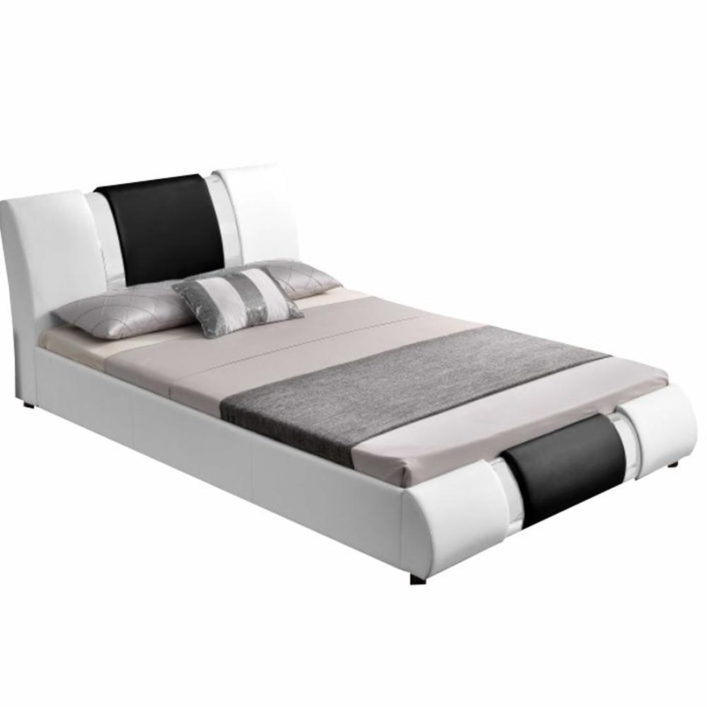 Moderná posteľ, biela/čierna, 160x200, LUXOR