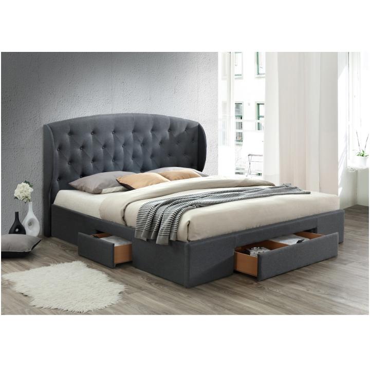 Manželská posteľ, látka sivá, 160x200, OLINA