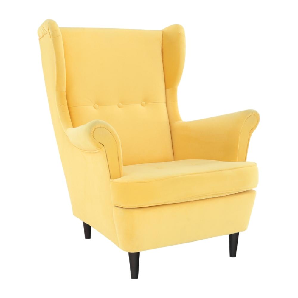 Füles fotel, sárga/wenge, RUFINO