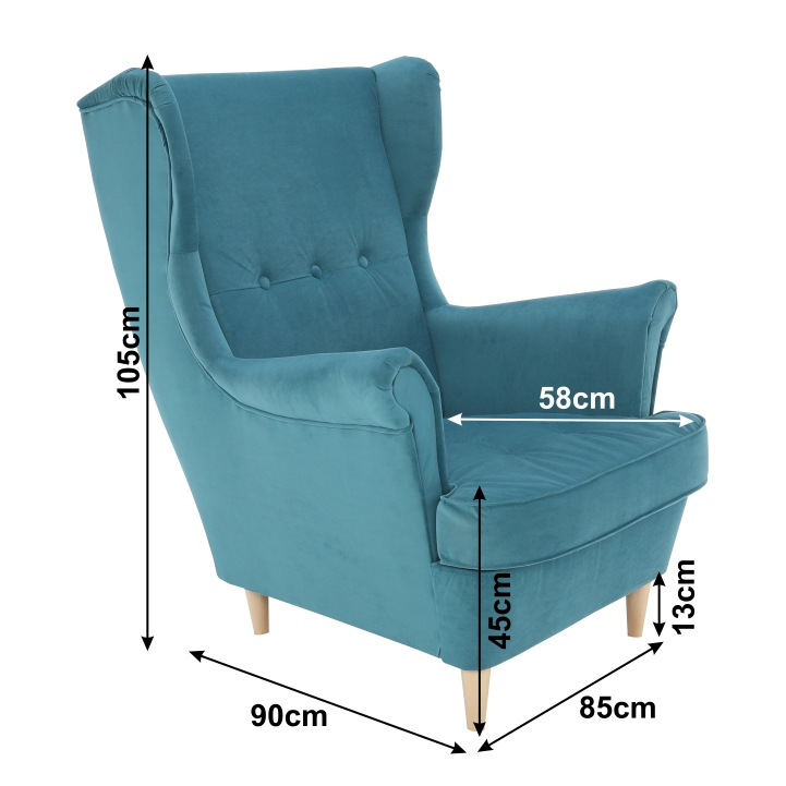 Füles fotel, petróleum/bükk, RUFINO
