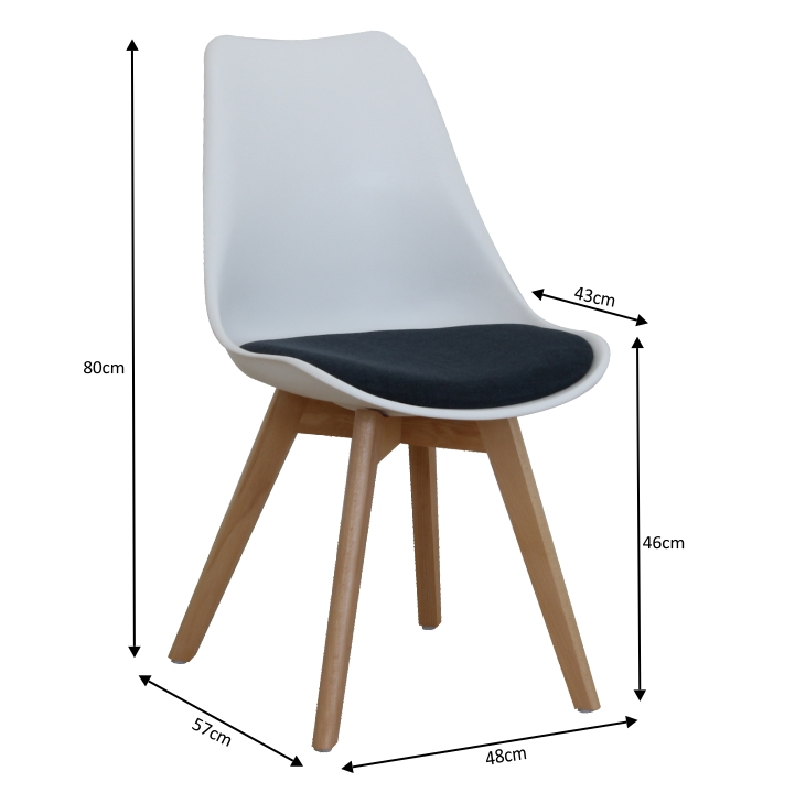 Stolička, biela/petrolejovosivá, DAMARA