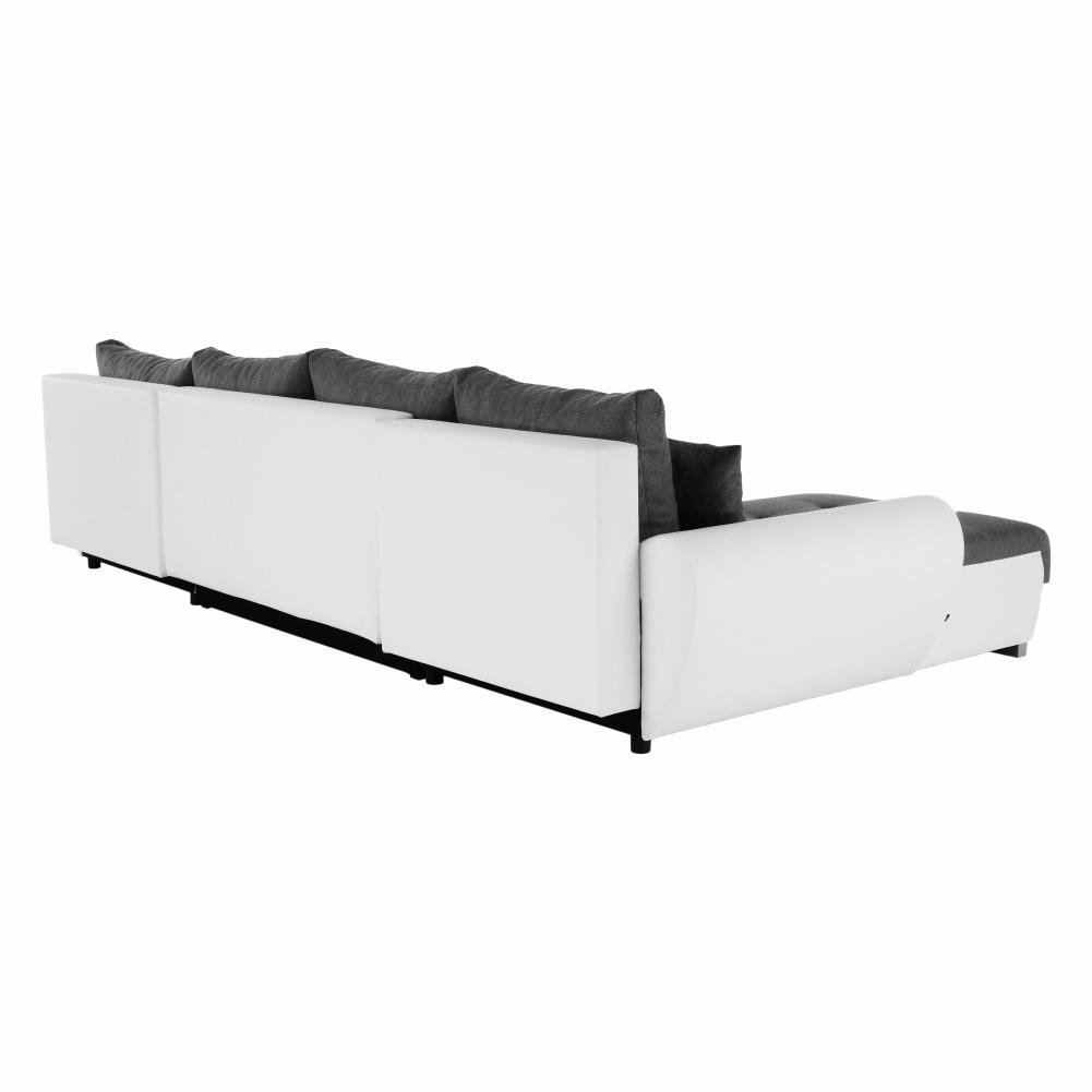 U alakú ülőgarnitúra, fehér mübőr/szürke anyag, TRENDY