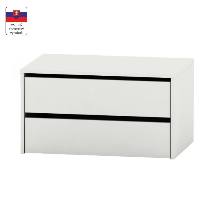 2 šuplíkový kontajner, biela, RIA
