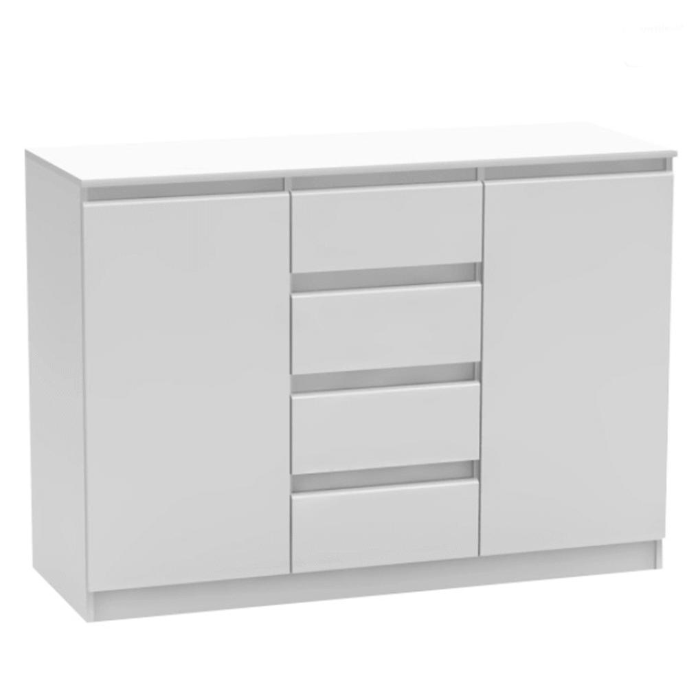 2 dverová komoda so 4 šuplíkmi, biela, HANY 010