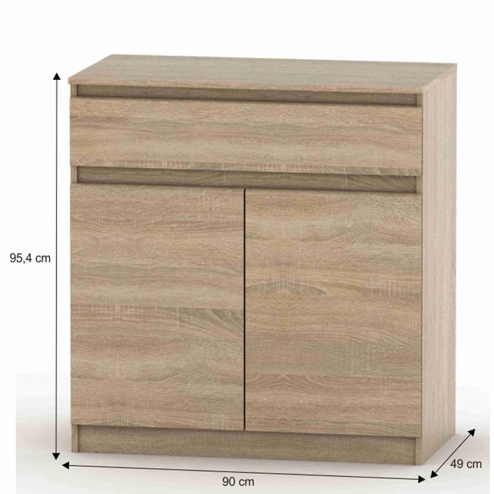 2 dveřová komoda s jedním šuplíkem, dub sonoma, HANY NEW 007