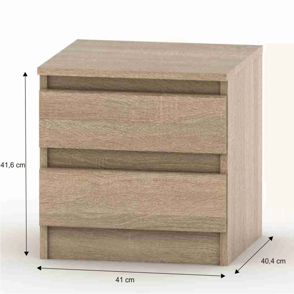2 šuplíkový noční stolek, dub sonoma, HANY NEW 002