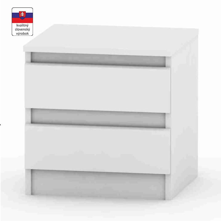 2 šuplíkový nočný stolík, biela, HANY 002