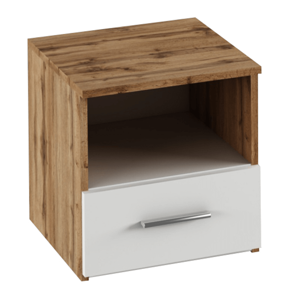Noční stolek, 2 ks, dub Wotan / bílá, GABRIELA