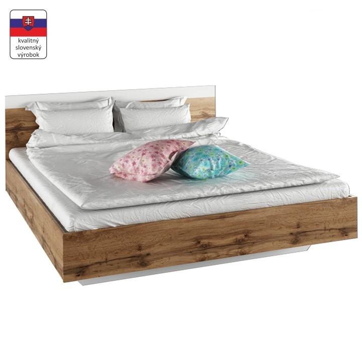 Manželská postel, 160x200, dub wotan / bílá, GABRIELA