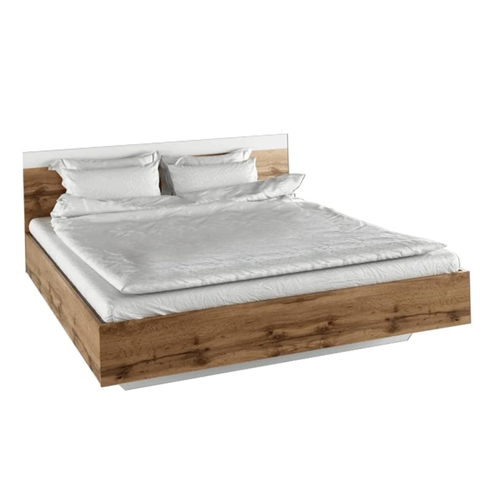 Dupla ágy, 160x200, tölgy wotan/fehér, GABRIELA