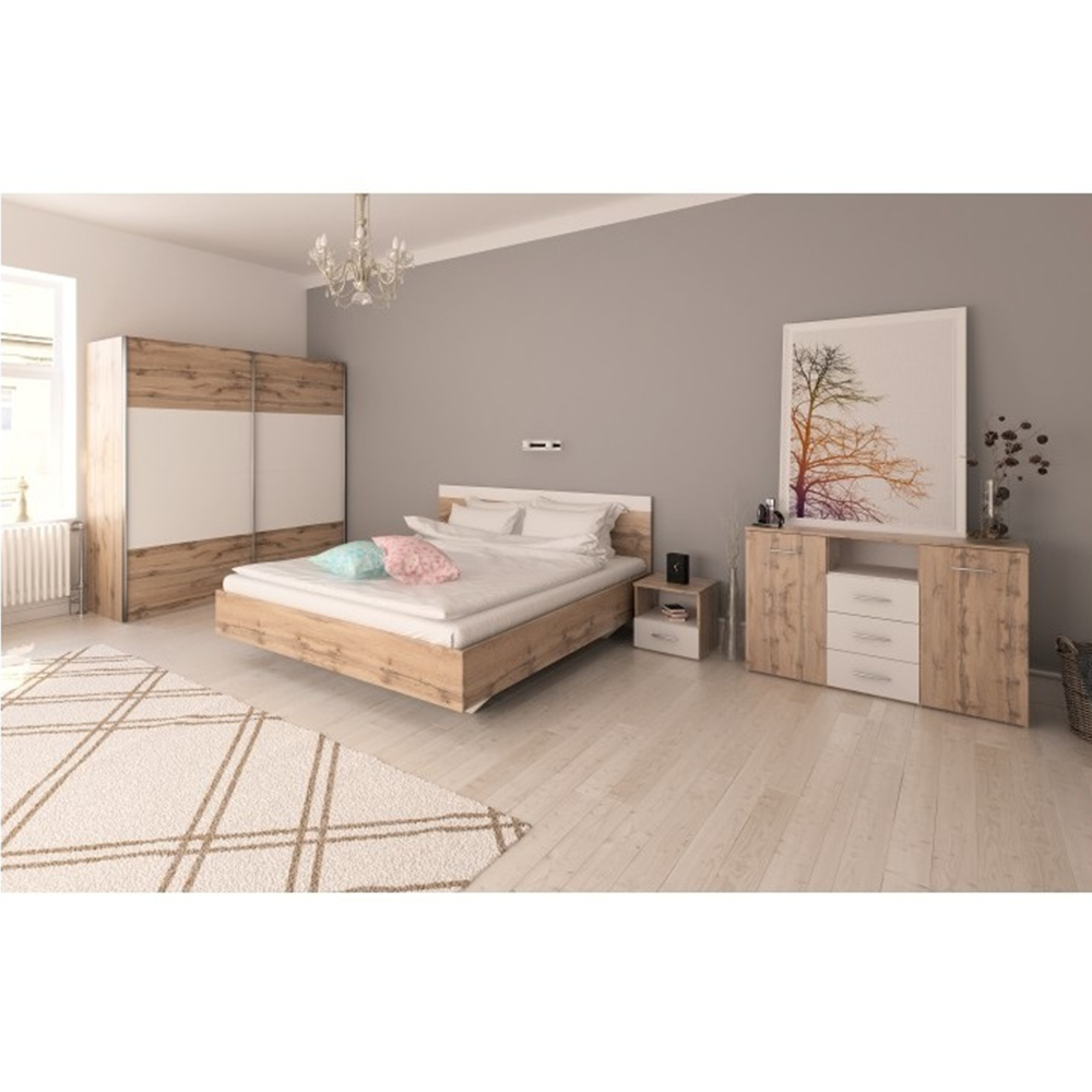 Spálňový komplet (posteľ 160x200 cm), dub wotan/biela, GABRIELA
