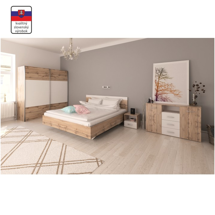 Hálószoba szett, (szekrény+ágy 180x200, 2 db éjjeliszekrény), wotan tölgyfa/fehér, GABRIELA