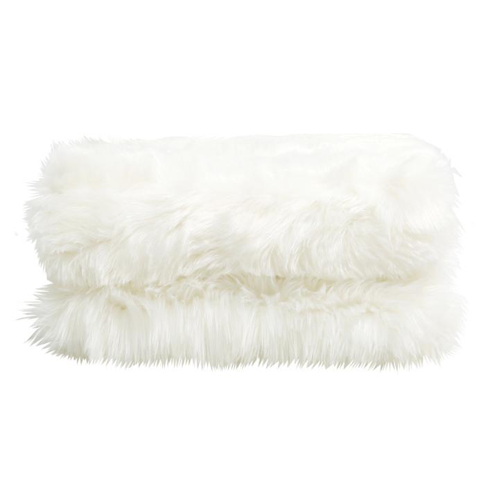 Kožušinová deka, biela, 150x180, EBONA TYP 1