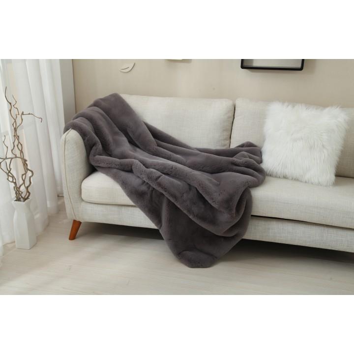 Kožušinová deka, sivá, 150x170, RABITA TYP 3