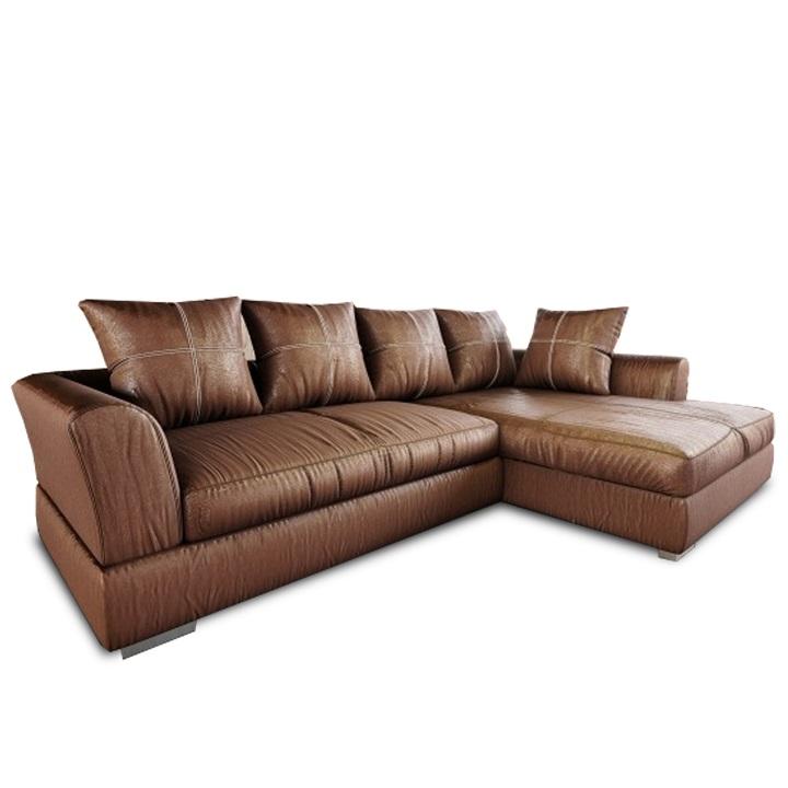 Luxusná sedacia súprava, látka hnedá efekt brúsenej kože, pravá, ANONA ROH