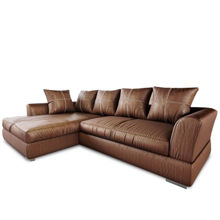 Luxusná sedacia súprava, látka hnedá efekt brúsenej kože, ľavá, ANONA ROH