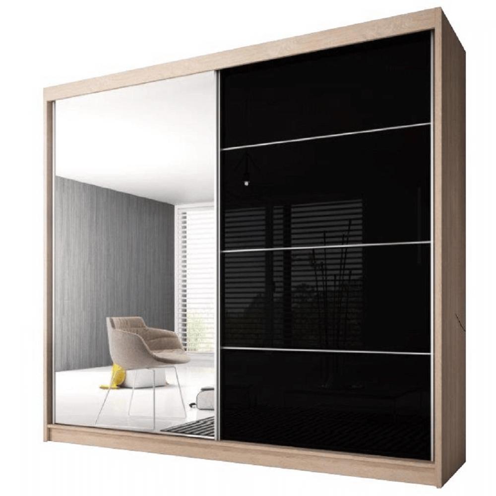 Skříň s posuvnými dveřmi, dub sonoma / černý lesk, 203x218, MULTI 31