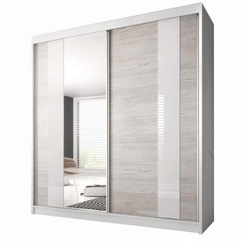 Skriňa s posúvacími dverami, dub kathult svetlý/biela, 203x218, MULTI 32