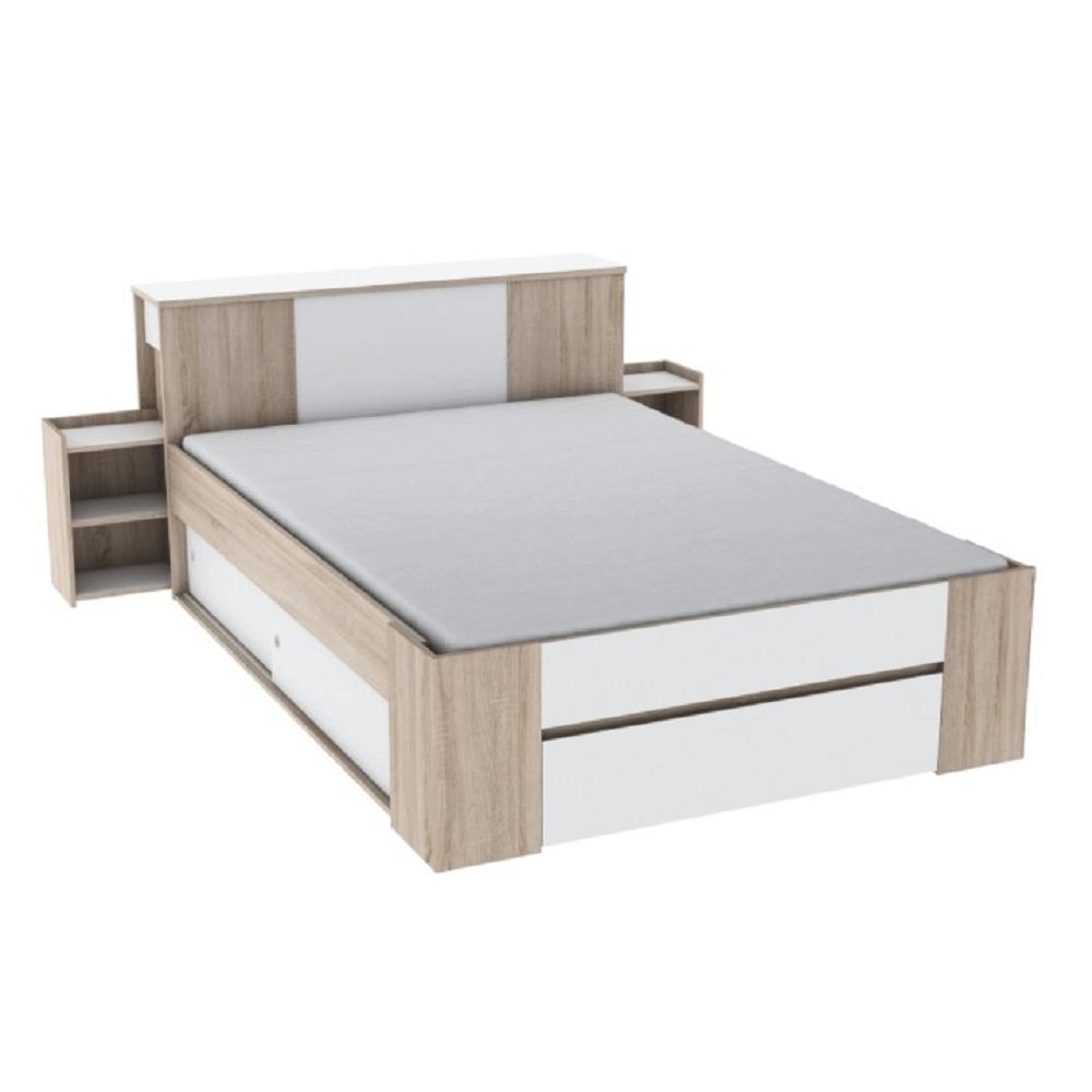 Tăblie pentru pat cu 2 noptiere, stejar sonoma/alb, SIRIUS
