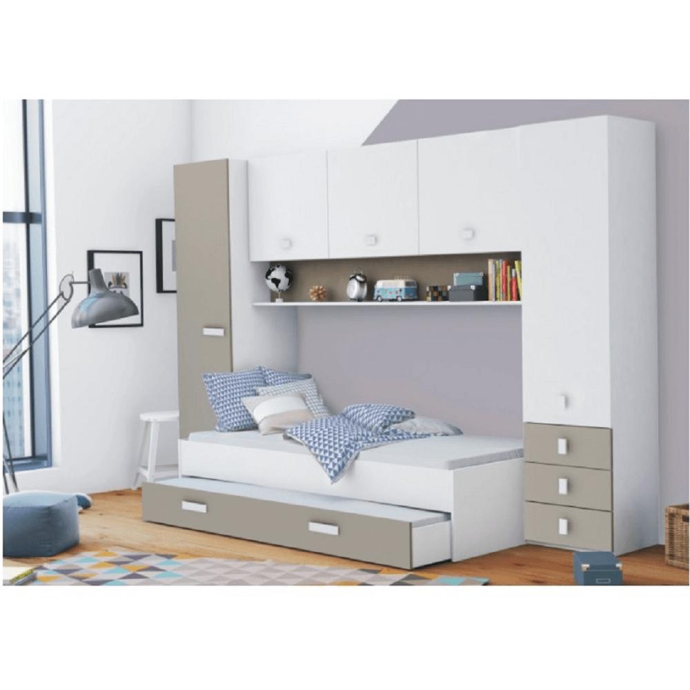 Extensie deasupra patului, alb/gri-maro taupe, TIDY