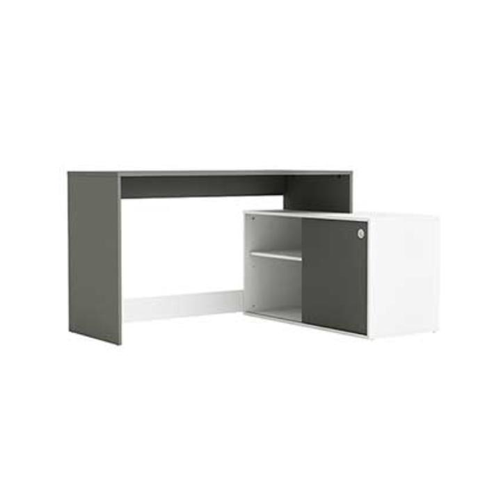 PC stôl, biela/sivá grafit, MORIS