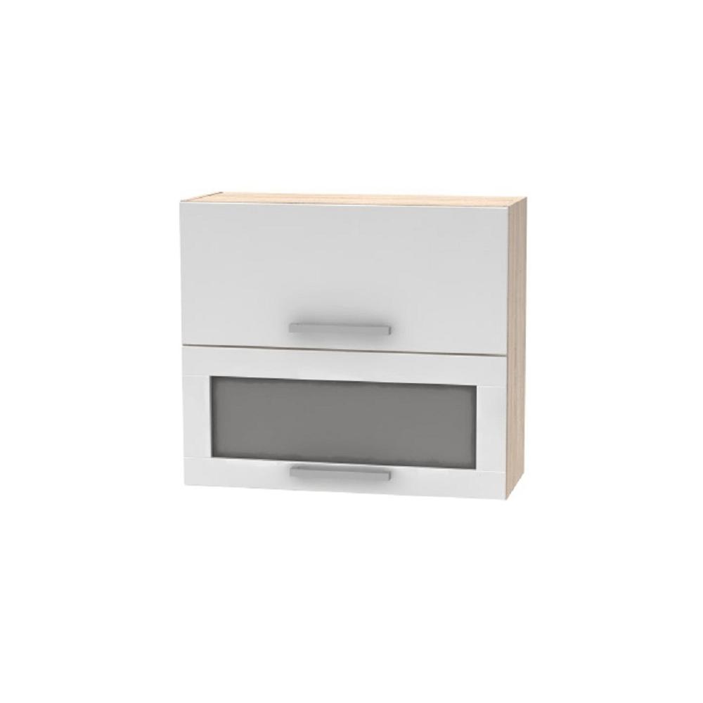 Horná výklopná skrinka so sklom 2DV, dub sonoma/biela, NOVA PLUS NOPL-016-OH