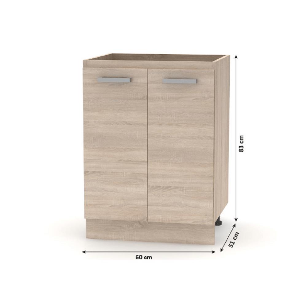 Alsó szekrény 60 2DV, tölgy sonoma, NOVA PLUS NOPL-057-0S