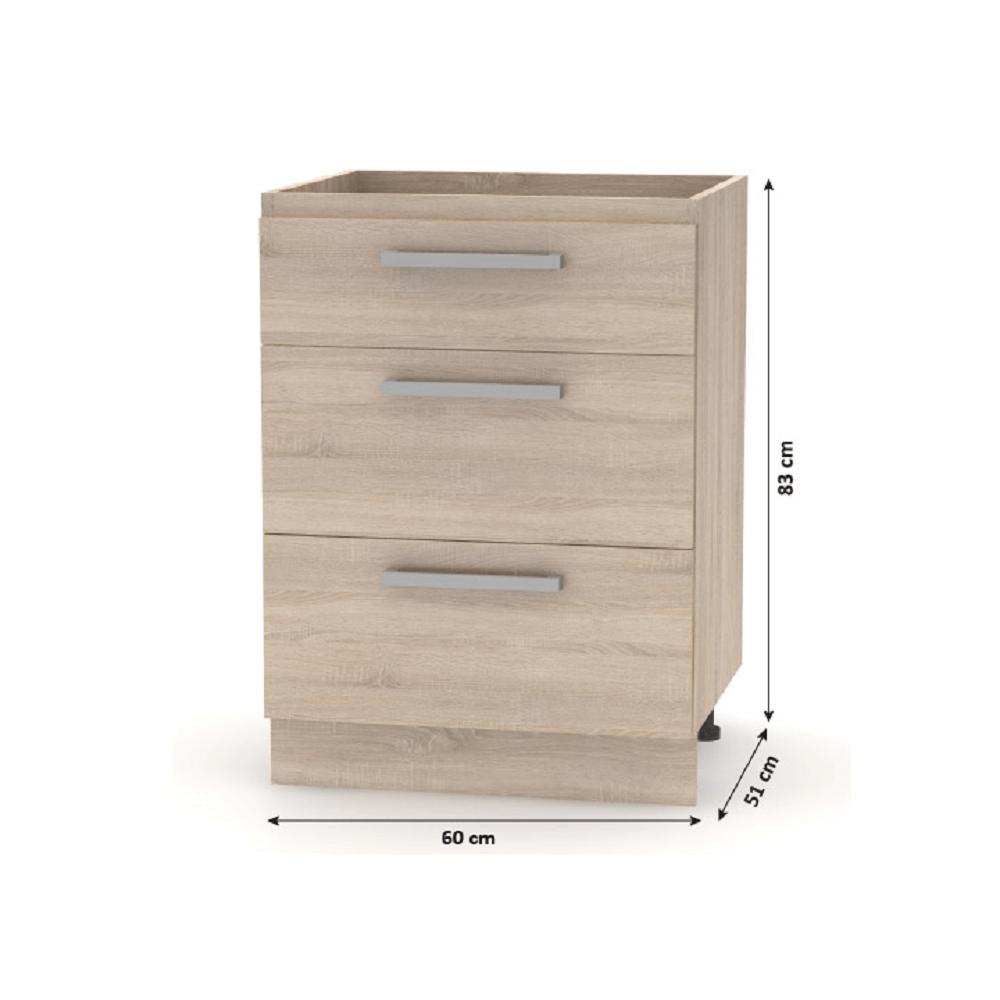 Alsó fiókos szekrény 60, sonoma tölgy, NOVA PLUS NOPL-058-0S