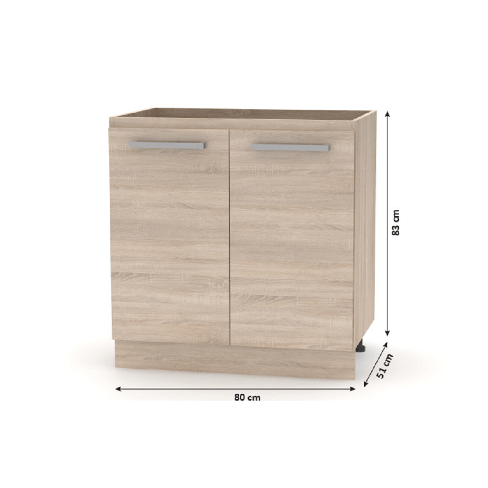 Cabinet inferior 80  2 DV, stejar sonoma, NOVA PLUS NOPL-060-0S