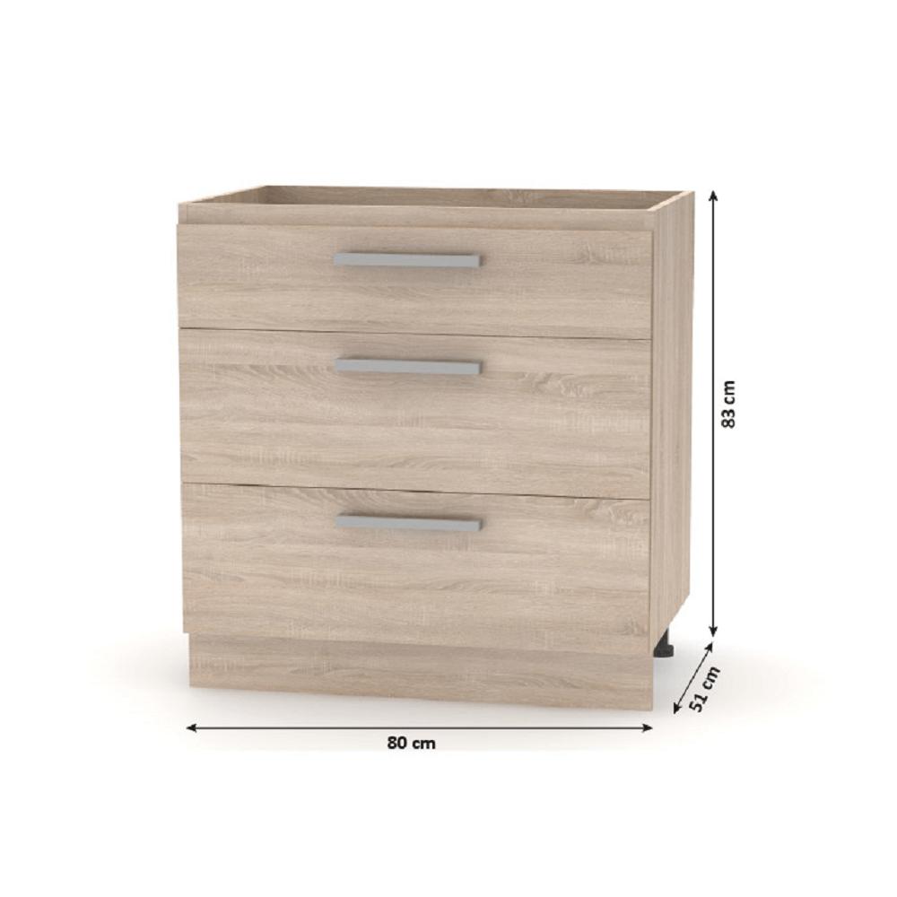 Alsó szekrény 3 fiókkal, sonoma tölgy, NOVA PLUS NOPL-064-0S