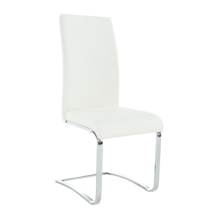 TEMPO KONDELA Jedálenská stolička, ekokoža biela/kov, VESATA TYP 3