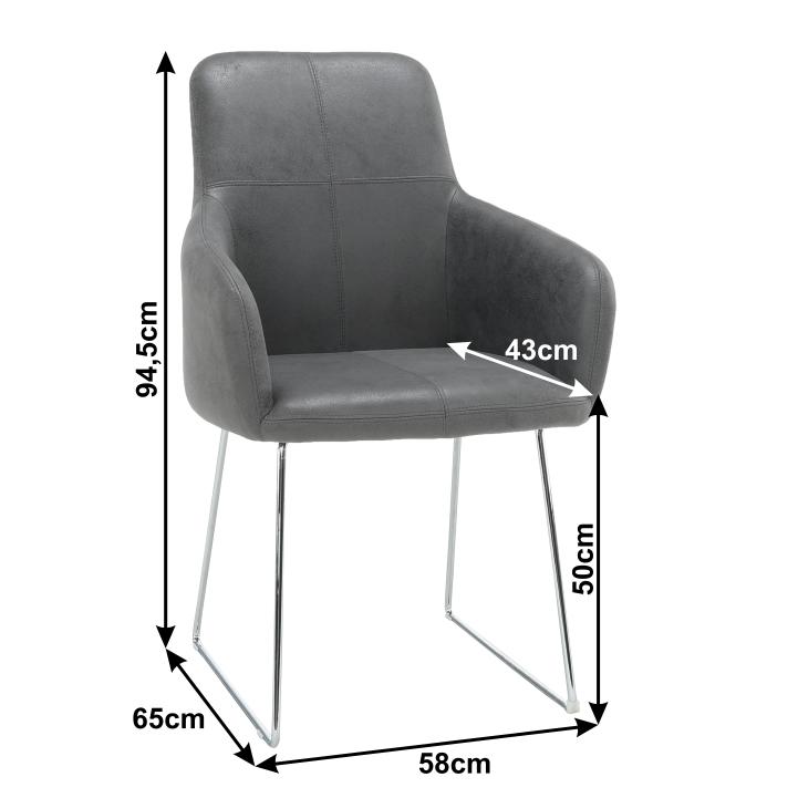 Fotel, szövet szürke/króm, VERMONA TYP 2
